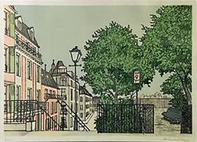 Denis Paul Noyer Parisian Street Scene Lithograph Signed by Denis Paul Noyer