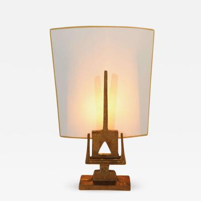 Denise Pietra Corbara Sampan Gilt Bronze Table Lamp