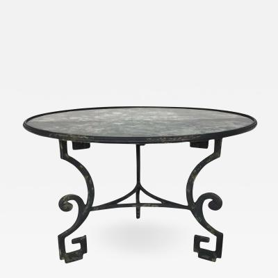 Dennis Leen Formations Greek Key Antiqued Mirror Top Wrought Iron Dining Table