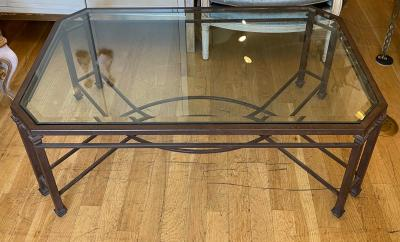 Dennis Leen Modern Jerry Pair for Dennis Leen Wrought Iron Glass Brighton Cocktail Table