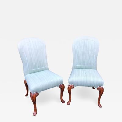 Dennis Leen Vintage Dennis Leen Designer Upholstered Side Chairs a Pair