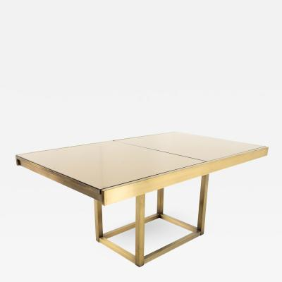 Design Institute of America Mid Century Brushed Brass and Glass Dining Table