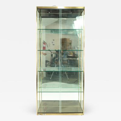 Design Institute of America Mid Century Brushed Brass and Glass Display Case