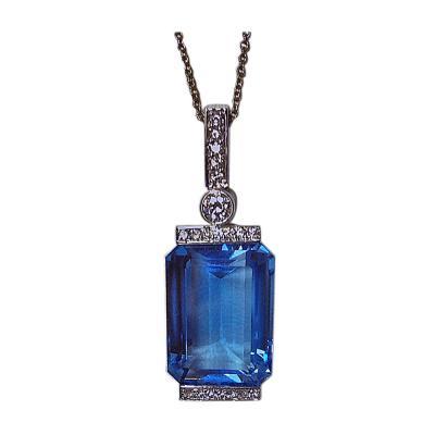 Diamond And Topaz Necklace Pendant