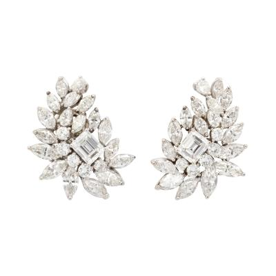 Diamond Cluster Earrings in Platinum
