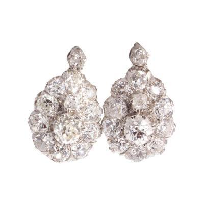 Diamond Cluster Platinum Earrings