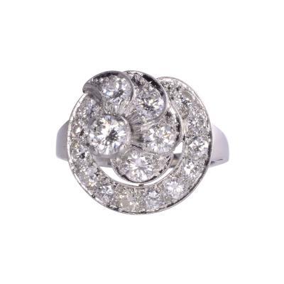 Diamond Cluster Platinum Ring Size 7