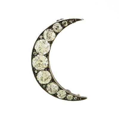 Diamond Crescent Mini Brooch