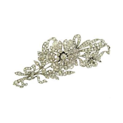 Diamond Flower Spray Brooch