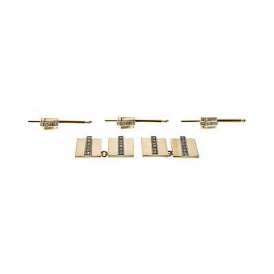Diamond Geometric Gold Shirt Stud Set Cufflinks