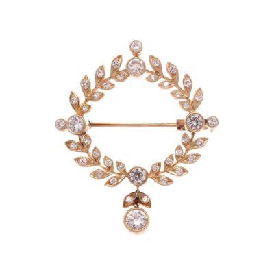 Diamond Gold Floral Wreath Brooch
