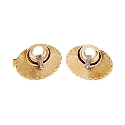 Diamond Gold Oval Textured Cufflinks