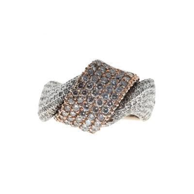 Diamond Gold Swirl Design Cocktail Ring
