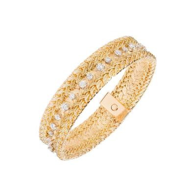 Diamond Heavy Mesh 18k Gold Bracelet