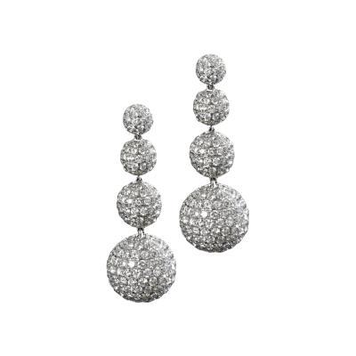 Diamond Pave platinum Sphere Drop Earrings