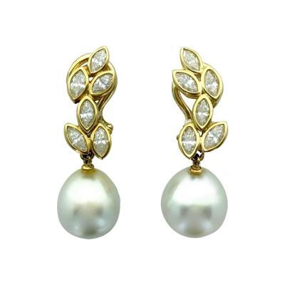 Diamond Pearl Gold Earrings