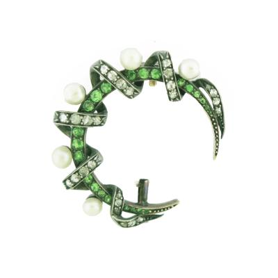 Diamond Pearl and Demantoid Crescent Moon Brooch