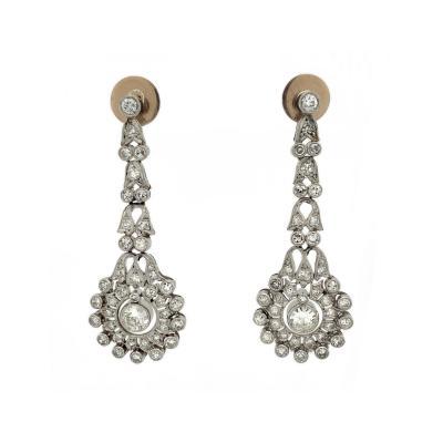 Diamond Platinum Wreath Drop Earrings