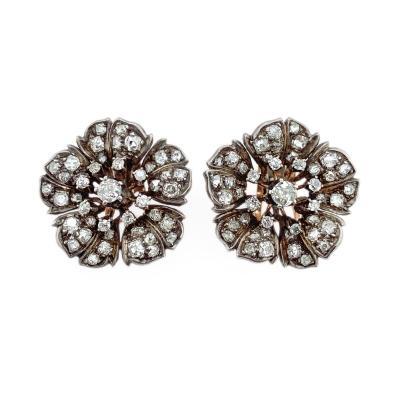 Diamond Rose Cluster Clip on Earrings