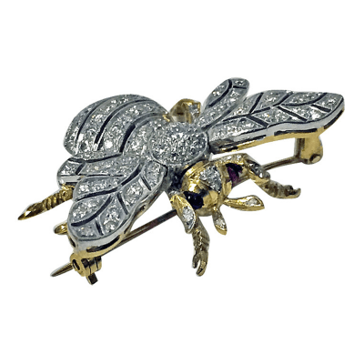 Diamond Ruby Gold Bee Brooch