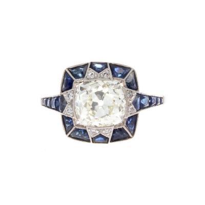 Diamond Sapphire Platinum Engagement Ring