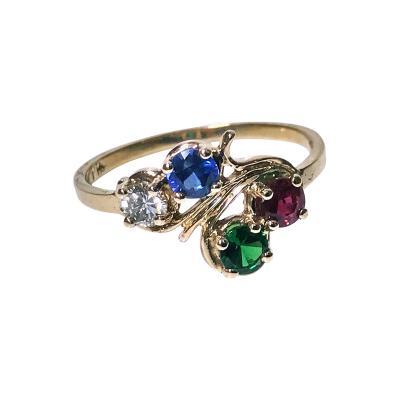 Diamond Sapphire Ruby and Tsavorite Gold Ring