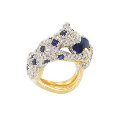 Diamond Sapphire and Emerald Panther Ring 18 Karat Gold