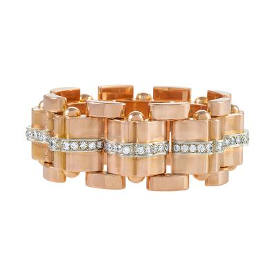 Diamond Studded Rose Gold Retro Bracelet