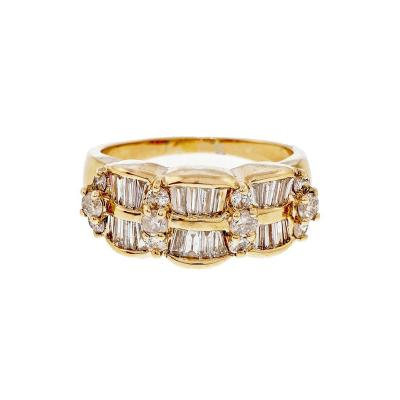 Diamond Wave Yellow Gold Ring Circa 1960