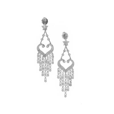 Diamond White Gold Dangle Chandelier Earrings