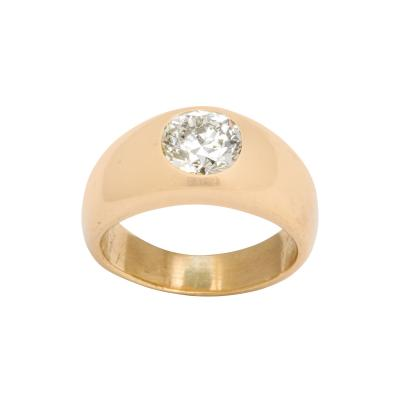 Diamond and 18 k Gold Gypsy Ring