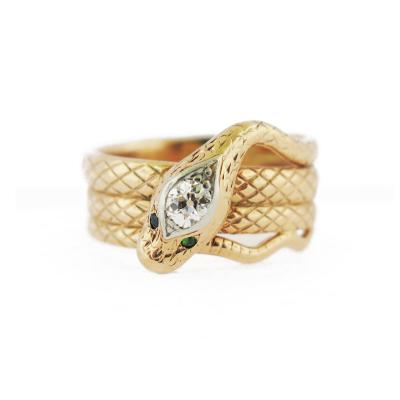 Diamond and Emerald Accent Snake Ring