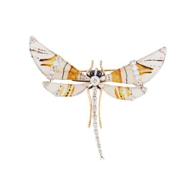 Diamond and Gold Moss Agate Dragon Fly Brooch