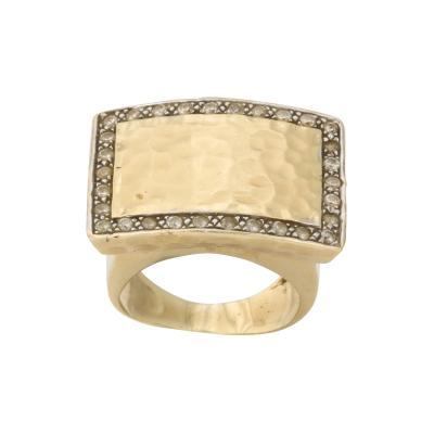 Diamond and Hand Hammered Gold Ring
