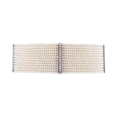 Diamond and Natural Seed Pearl Choker