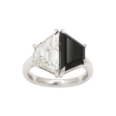 Diamond and Onyx Trapezoid Platinum Ring