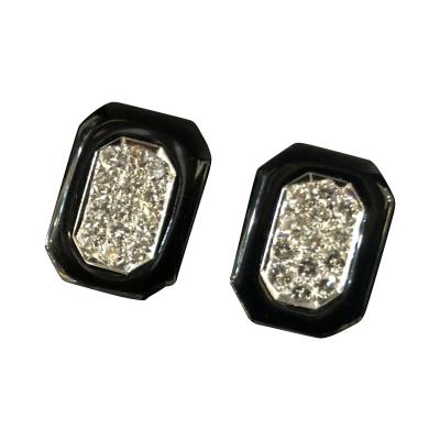 Diamond and Onyx platinum and 18k earrings