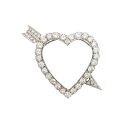 Diamond and Platinum Heart with Arrow Pendant Pin