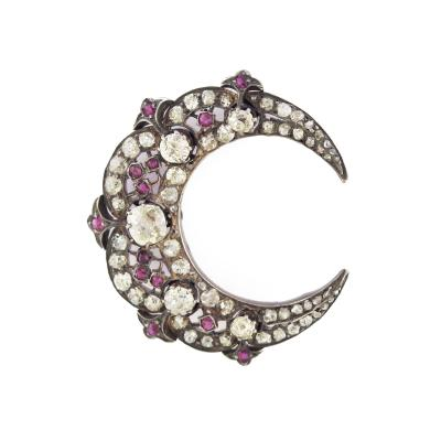 Diamond and Ruby Crescent Moon Brooch