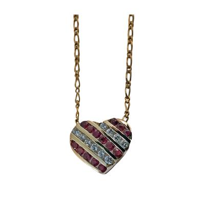 Diamond and Ruby Heart Pendant Necklace 20th Century