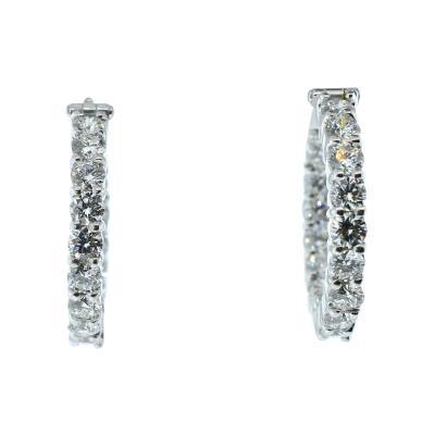 Diamond hoop style 18K white gold earrings