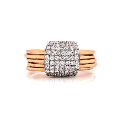 Diamonds 0 55 Carat and Rose Gold 18 Carat 5 Articulated Rings