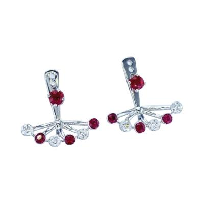 Diamonds and Rubies Fan Earrings EGL Certified