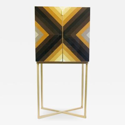 Diana Gra a Mid Century Modern Style Colored Glass and Solid Wood Italian Cabinet