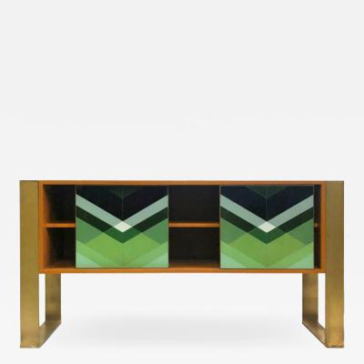 Diana Gra a Mid Century Modern Style Colored Glass and Solid Wood Italian Sideboard