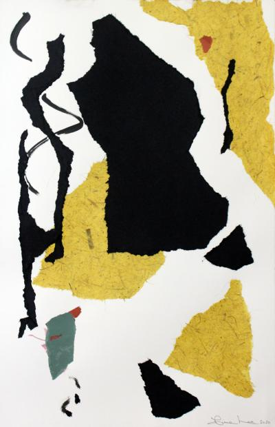 Diane Love Samba 2020 Framed Abstract Collage in Black White and Mustard By Diane Love