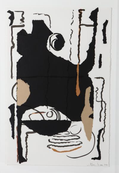 Diane Love Syncopation 2020 A Large Framed Black White Abstract Collage By Diane Love