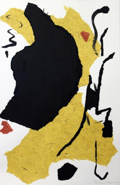 Diane Love The Continental 2020 Large Framed Black White Yellow Collage by Diane Love