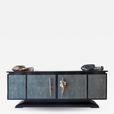 Didone Italy Design Italian Large sideboard in Ebony and Galuchat by Didone 2018
