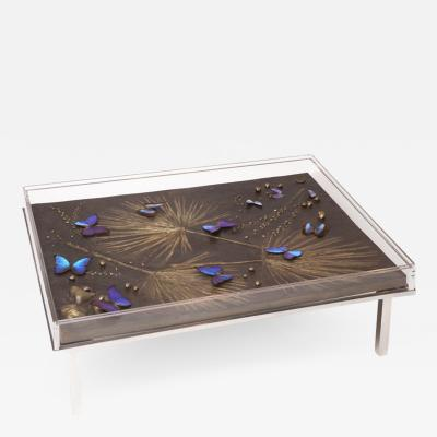 Didone Italy Design Table in patinated bronze and resin with butterfly insertion 2018